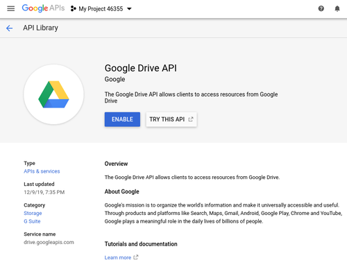 Enable Google Drive API screenshot