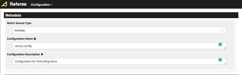 screenshot of the referee configuration metadata page
