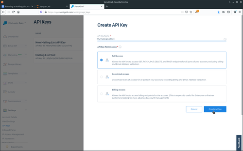 Create SendGrid API key