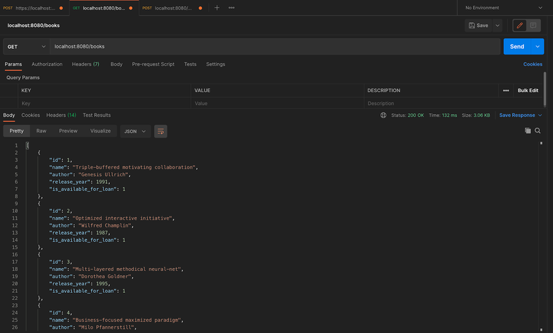 Testing the books post endpoint in Postman