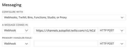 configure number autopilot webhook
