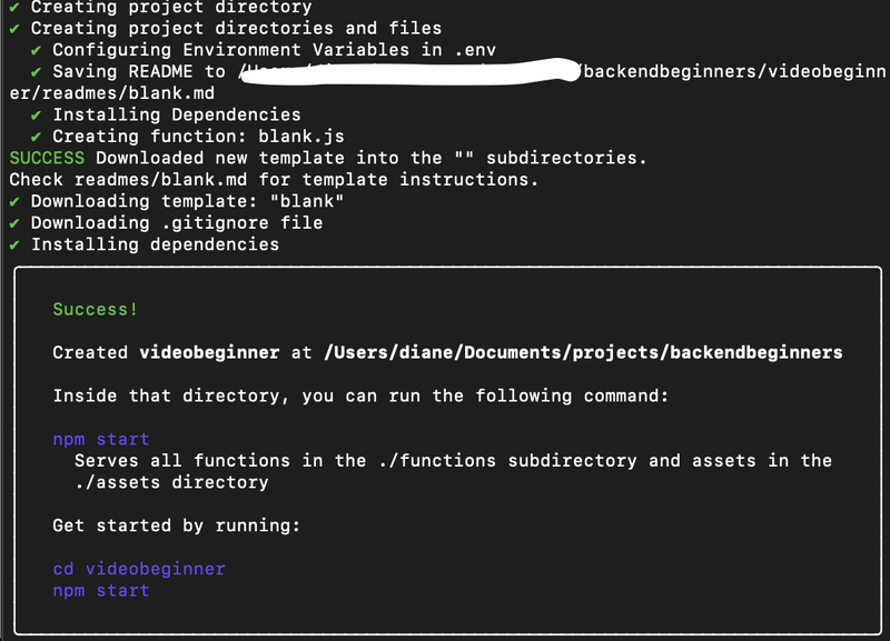 Twilio CLI success message for creating a serverless backend project