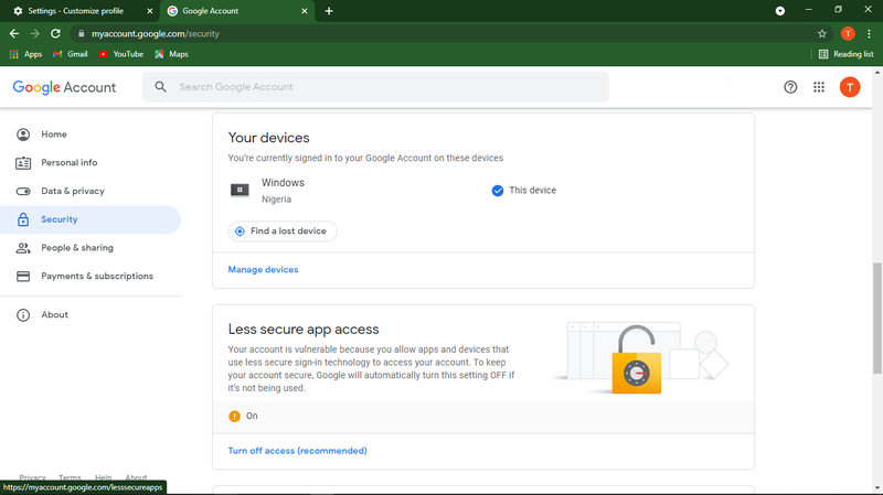 Less secure app access enabled in a Google Account