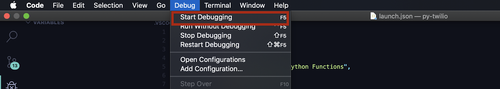 vs code start debugging screenshot