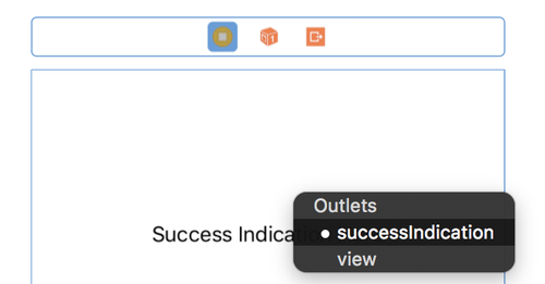 xcode success outlet