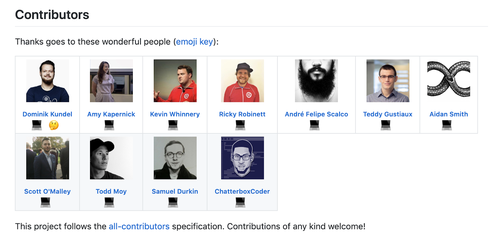 Screenshot of an All Contributors attribution for the Open Pixel Art project. It includes 11 contributors who contributed code, and one who contributed feedback.