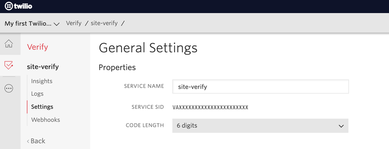 The  general settings page of the Twilio Verify service named site-verify on the Twilio Console