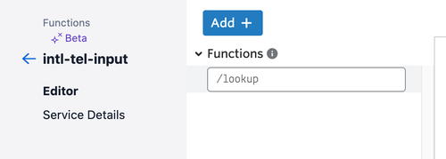 Twilio Funktion namens lookup