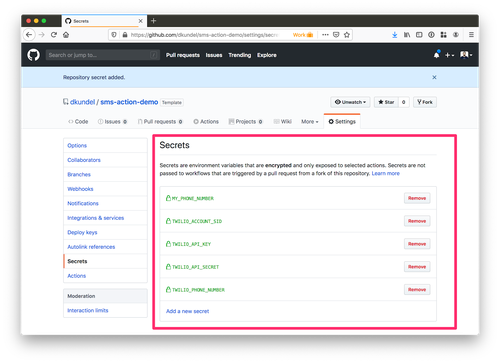 screenshot of GitHub secrets screen with all secrets created