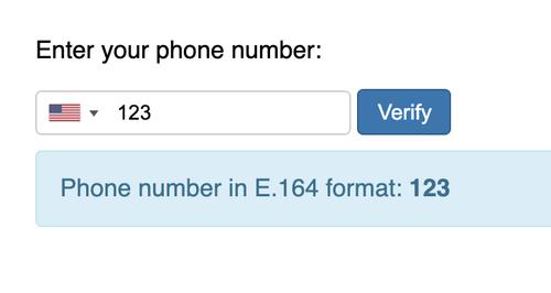 Entrada de número de teléfono no válido