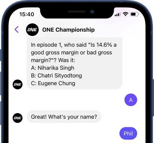 A screen grab of talking with a bot over Facebook Messenger. It asks a question, I respond with the answer, then it asks for my name which I also respond to.