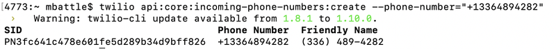 Newly purchased Twilio phone number in the CLI