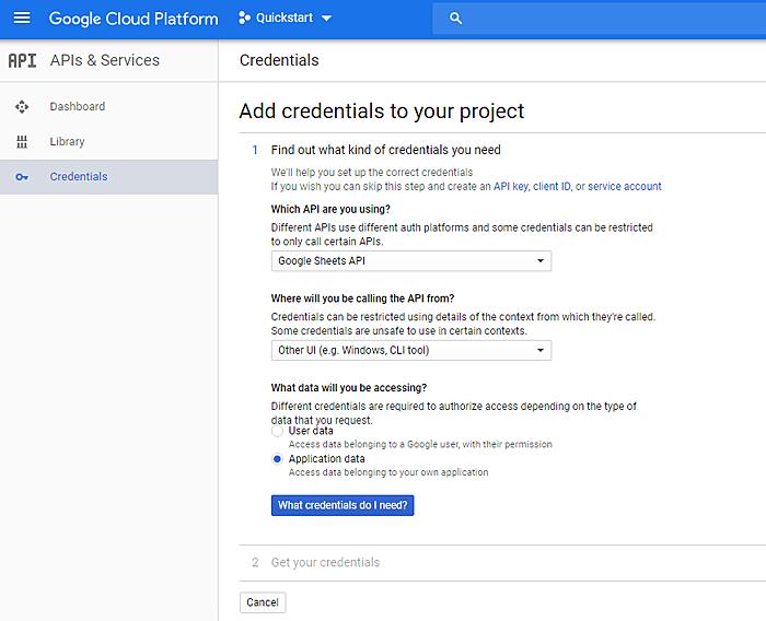 Credenciales de la plataforma Google Cloud