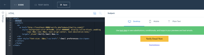 SendGrid Dynamic Template Code Editor