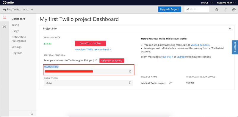 Screeshot of the Twilio Console with Account SID circled