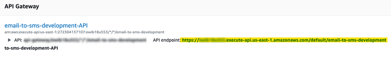 Get the URL of the API Gateway endpoint