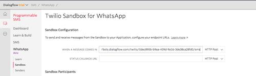 Tela do console da Twilio com a configuração do webhook da Sandbox da API do WhatsApp
