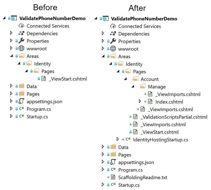 Before and after file structure for project
