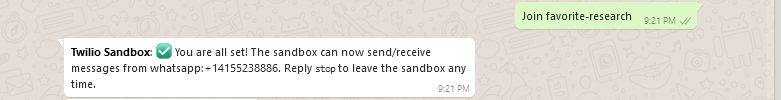 Successfully setup a mobile number with the Twilio WhatsApp Sandbox