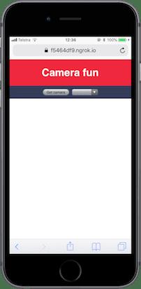 Die App sollte eine Überschrift 'Camera fun' zeigen, mit einer Schaltfläche und einer leeren Dropdown-Box.