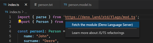 Screenshot of Visual Studio Code showing Fetch the module command