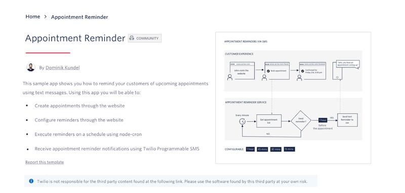 CodeExchange Appointment Reminder sample app screen