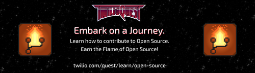 "decorative image saying ""Embark on a journey. Learn how to contribute to open source. Earn the flame of open source!"""