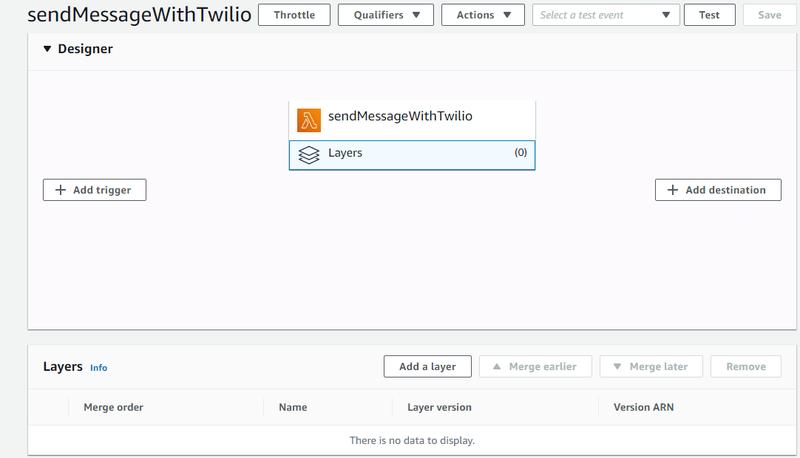 Layers screenshot in Lambda
