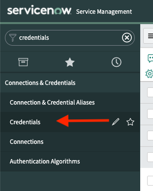 A screenshot of the Connections & Credentials navigation bar in the ServiceNow dashboard