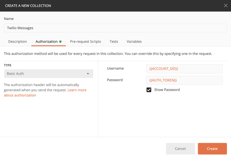 postman create a new collection authorization tab
