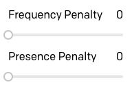Frequency and Presence penalty options
