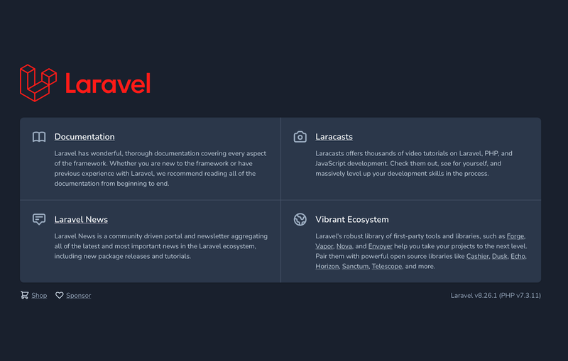 The Laravel home page (in version 8)