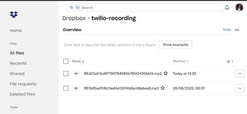 Dropbox call recordings