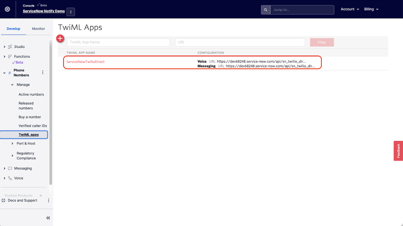 A screenshot showing the new TwiML app in the Twilio Console