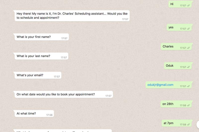 Ejemplo de WhatsApp de respuesta 'Sí'