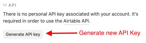 Generate Airtable API Key