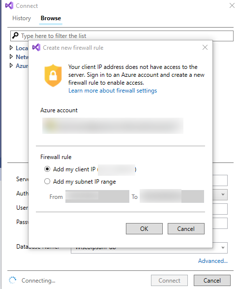 Visual Studio add workstation IP address to Azure account screenshot