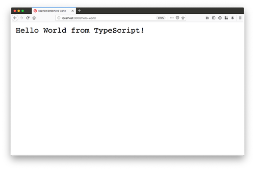 "browser window with ""Hello World from TypeScript"" on it"