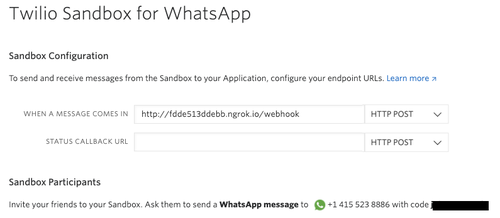 """Twilio Sandbox for WhatsApp console page with the unique ngrok URL """"https://ad7e4814affe.ngrok.io/webhook"""" inside text field"""