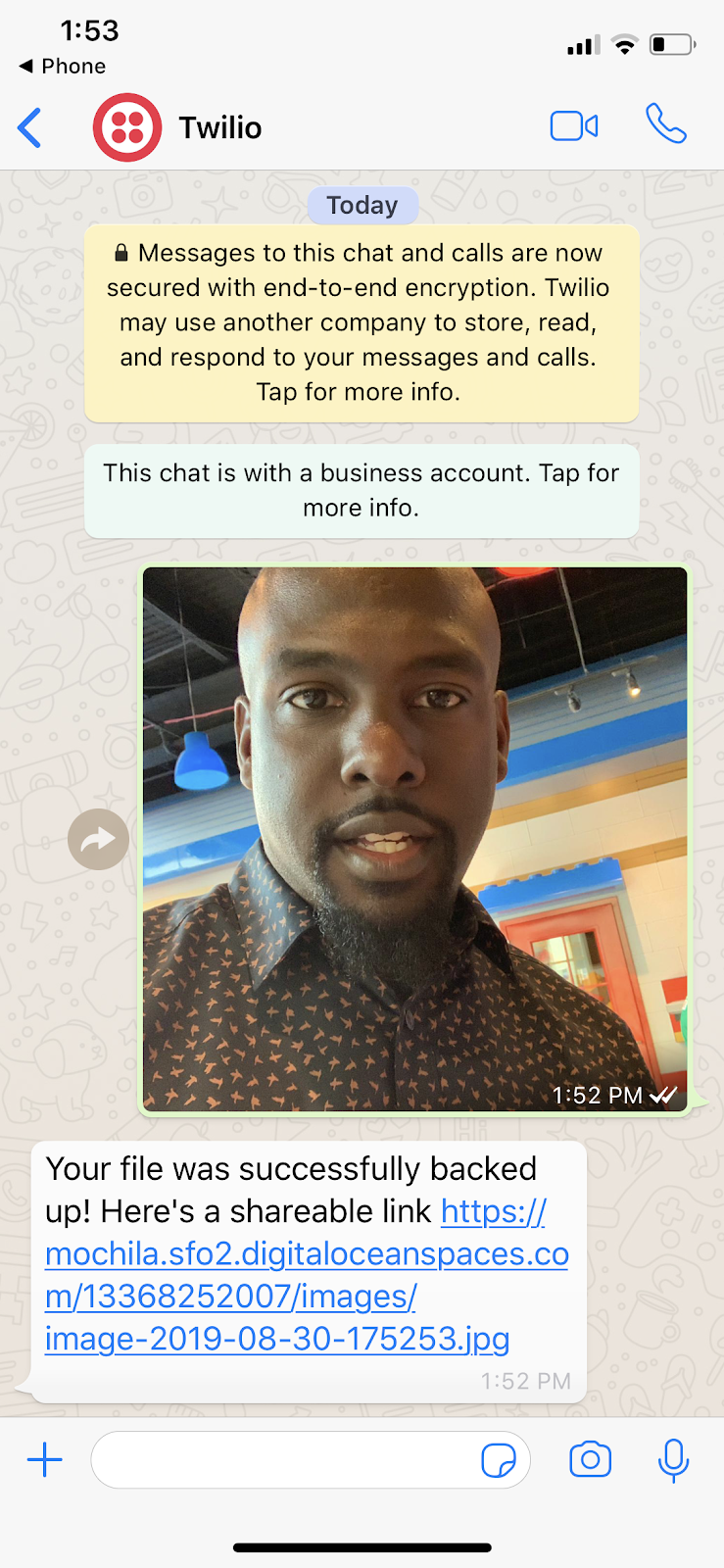 Twilio WhatsApp screen on iPhone