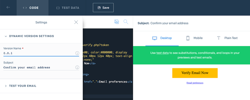 Screenshot of the SendGrid console with the sample email text