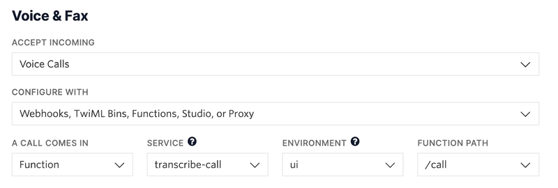 Screenshot showing webhook configuration for twilio phone number