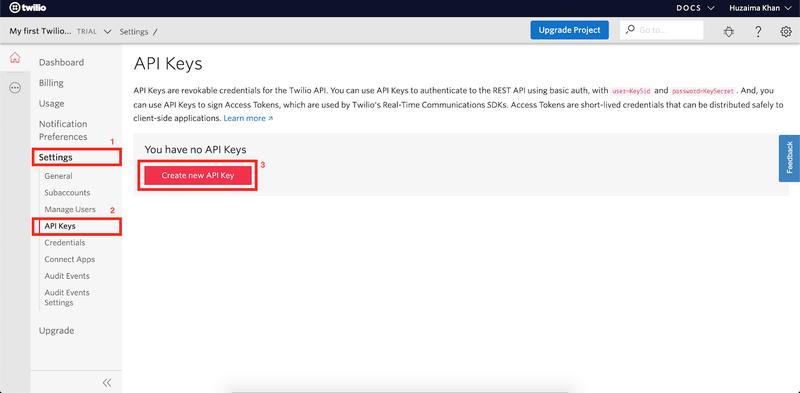 twilio API key setup