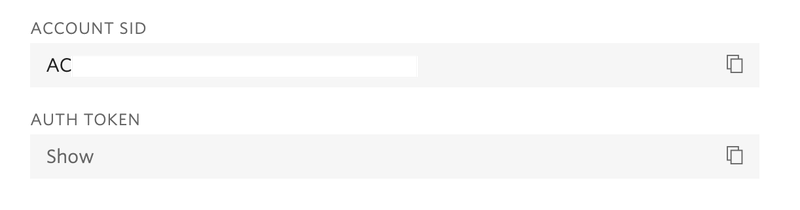 Twilio console, showing location of Account SID