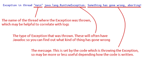 Example java stack trace