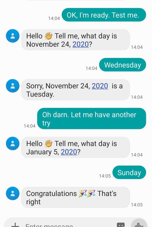 Screenshot of an SMS conversation with one wrong answer and one correct answer.