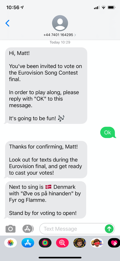 SMS telling you about what the next song is