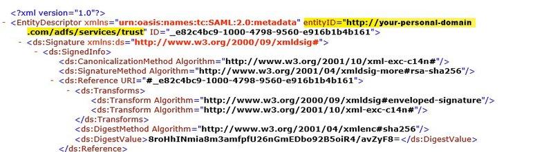 ADFS XML Entity ID