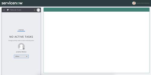 Interfaz Twilio Flex en funcionamiento - usuario sin conexión
