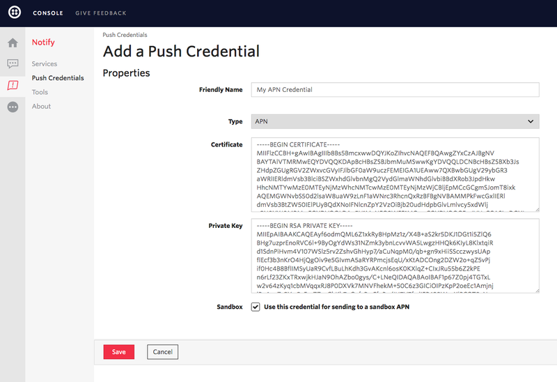 Create APNS Credentials